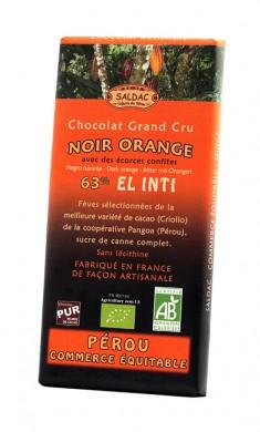 Черен шоколад с портокал Био Saldac, 100гр. - Saldac