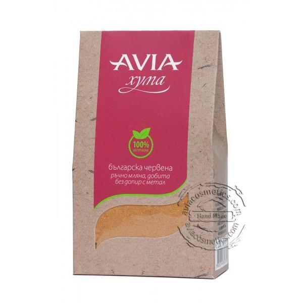 Ръчно добита червена хума Avia, 250гр. - Avia