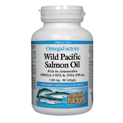 Дива тихоокеанска сьомга масло 1300 мг. Natural Factors, 90 бр. - Natural Factors