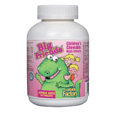 Мултивитамини BigFriends® за деца (плодове от джунглата) 268мг. Natural Factors, 60 бр. - Natural Factors