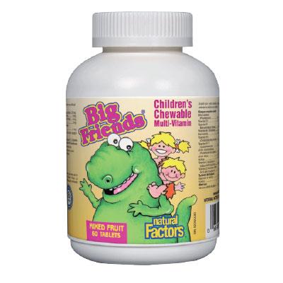 Мултивитамини BigFriends® за деца (смес от плодове)  268мг. Natural Factors, 60 бр. - Natural Factors
