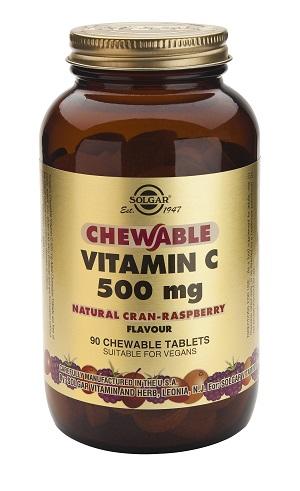 Витамин C за дъвчене, вкус малина 500мг. Solgar, 90 бр. - Solgar