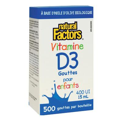 Витамин D3 400 IU за Деца /течен/ Natural Factors, 15 мл. - Natural Factors