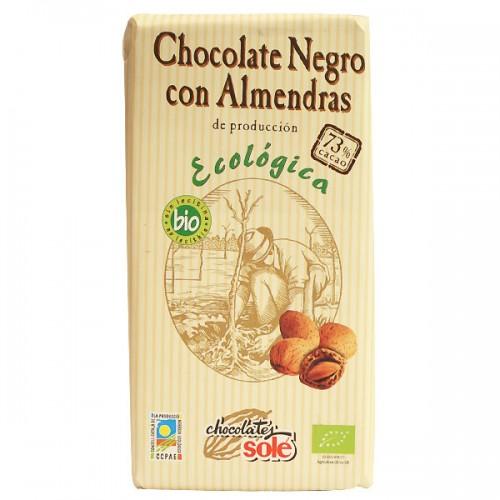 Шоколад с бадеми натурален 73% Био Sole, 150 гр. - Sole