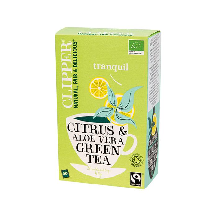 Био зелен чай с алое вера и цитрусов аромат CLIPPER TEAS, 20 бр. - CLIPPER TEAS
