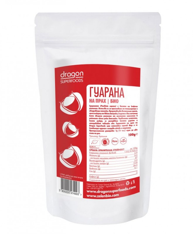 Гуарана на прах Био Dragon Superfoods, 100 гр. - Dragon Superfoods
