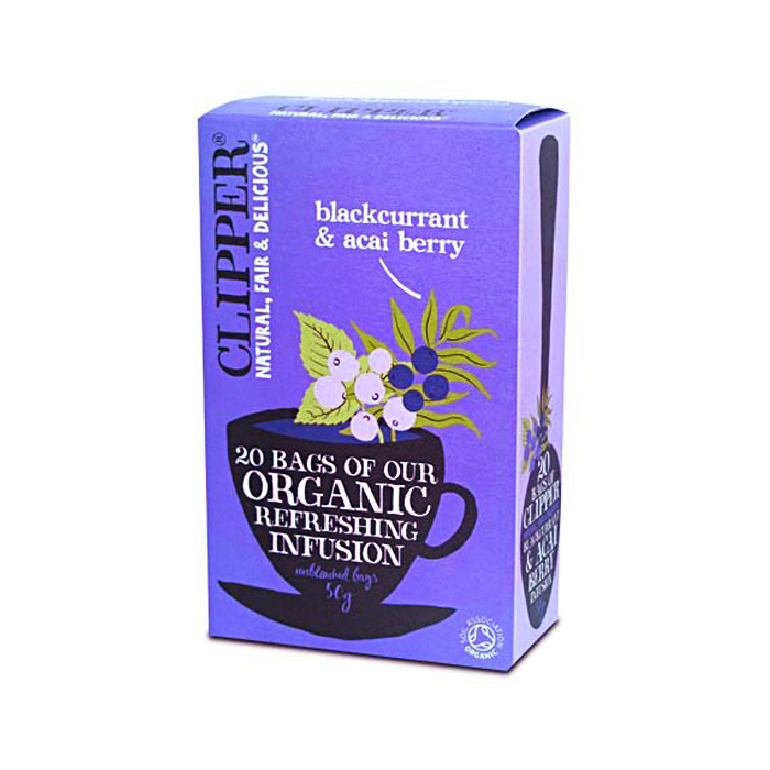 Био освежаваща плодова смес за чай от касис и акай CLIPPER TEAS, 20 бр. - CLIPPER TEAS