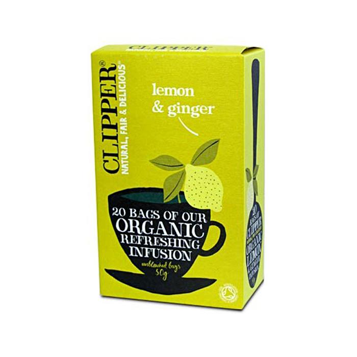 Био освежаваща плодова смес за чай от лимон и джинджифил CLIPPER TEAS, 20 бр. - CLIPPER TEAS