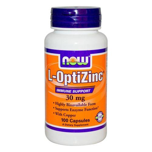 Цинк и метионин L-OptiZinc 30мг. Now, 100бр. - Now
