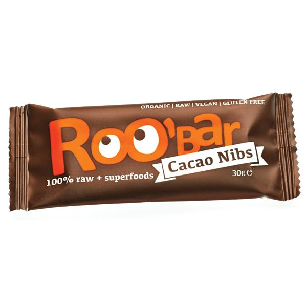 Суров бар какаови зърна и бадеми Био Roobar, 30гр. - Roobar
