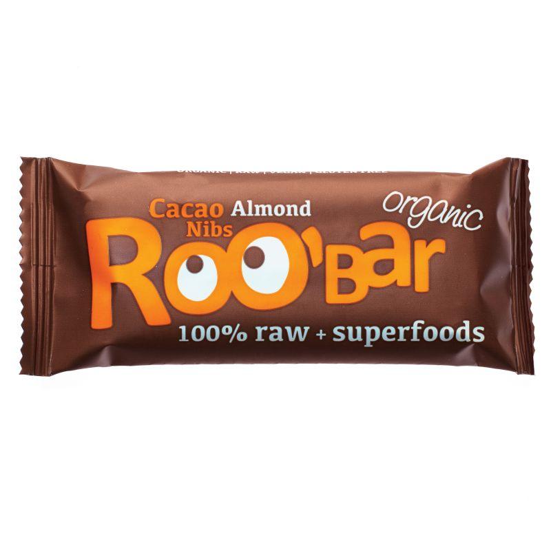Суров бар какаови зърна и бадеми Био Roobar, 50гр. - Roobar