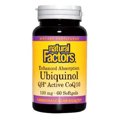 УБИКВИНОЛ QH® АКТИВЕН КОЕНЗИМ Q10 100мг. Natural Factors,  60 бр. - Natural Factors