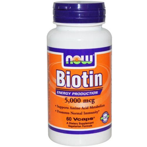 Витамин B-7 – Биотин 5000мкг. Now, 60бр. -